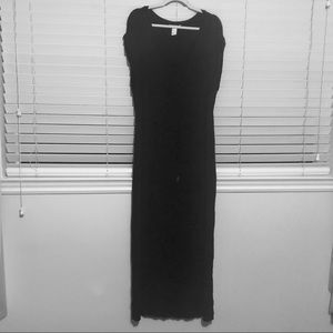 H&M Black Cap Sleeve Slit Maxi Dress with Tie
